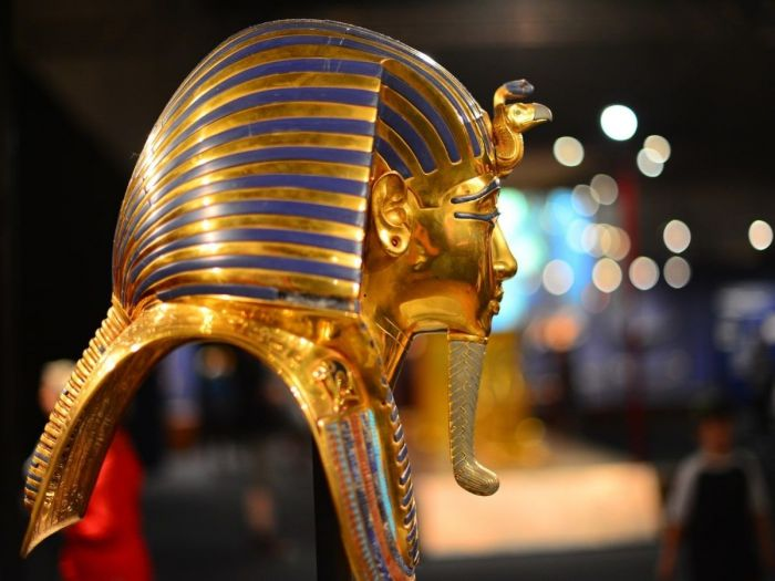 Máscara do Rei Tutankamon no Museu do Cairo, Egito